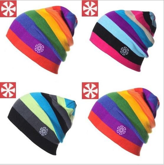New Winter Fashion Men Rainbow Beanie Hip-Hop Cap Ski Skating Cap Women Knitting Hat Stripe Warmer Hat  kullies  Beanies pentacle star warm skull beanie hip hop knit cap ski crochet cuff winter hat for women men new sale