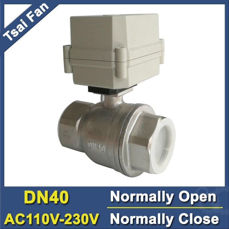 11/2 AC110V-230V de plein port d'acier inoxydable normalement ouvert/robinet à tournant sphérique motorisé par DN40 avec l'indicateur