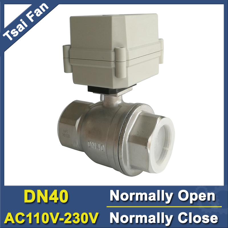 11/2'' stainless steel full port AC110V-230V electric normally open / close valve DN40 Motorized ball valve with indicator 24v normally open normally close electric thermal actuator for room temperature control three way valve dn15 dn25