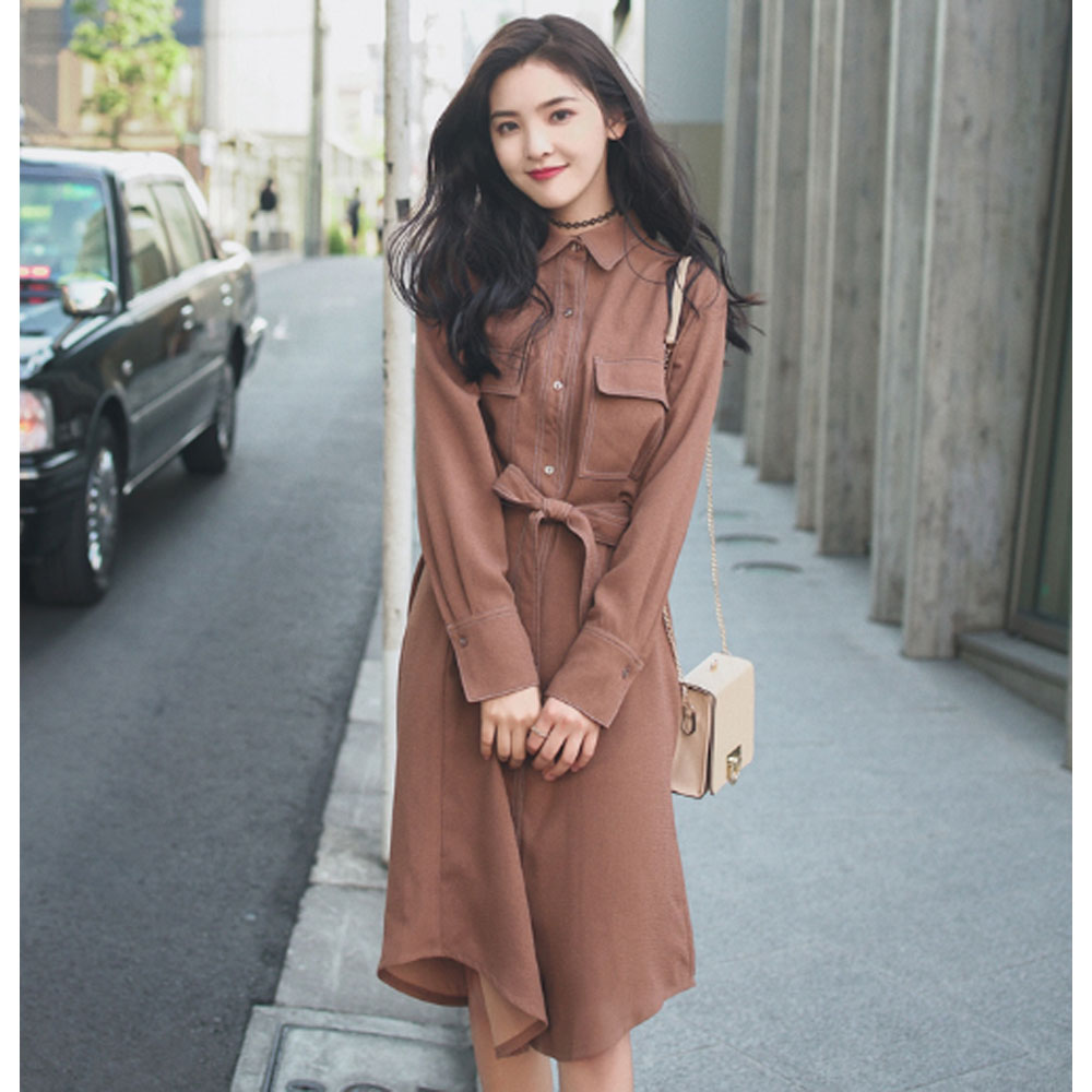 New Spring Caramel Belted Shirt Dress Casual Turn Down Collar Long Sleeve Bow Buttons Dress Korean Style for Female Long Dresses