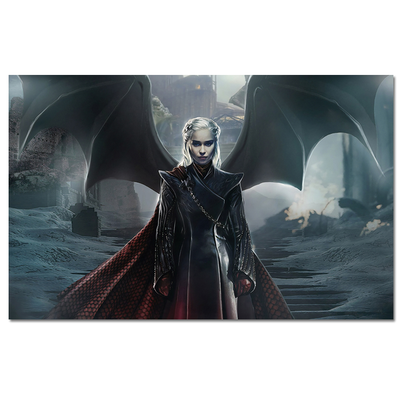 Daenerys Targaryen Game Of Thrones Poster TV Shows Silk Wall Art Prints Home Bedroom Bar Decor Picture Large Size
