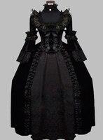 럭셔리 고딕 블랙 세기 고귀한 빅토리아 시대 드레스 볼