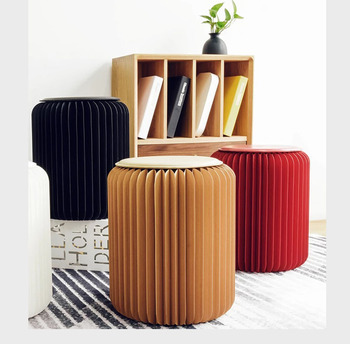 Paper stool fashion dining stool multifunctional folding home living room spacesaving creative design furniture