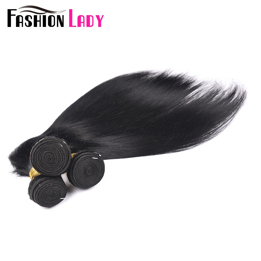Fashion Lady Pre-Colored Peruvian Straight Hair 4 Bundles 1# Jet Black Human Hair Weave Hair Extensions Non-Remy