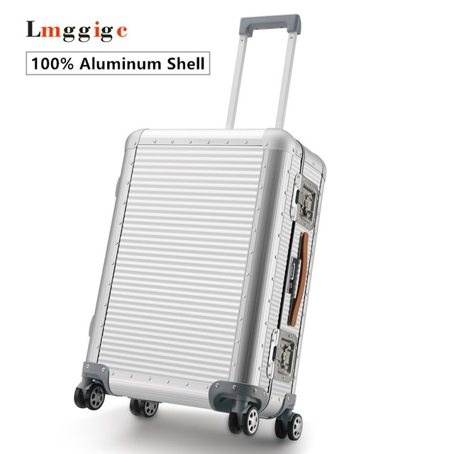 "20""26""inch 100% Aluminum shell Luggage,Nniversal wheel Suitcase,High quality vintage Carry-Ons,Metal Carrier,Trolley Travel case"