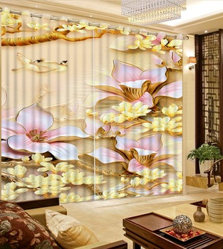 Flowers print Chinese Customized 3D Blackout Curtains Living Room Bedroom Hotel Window relief curtains