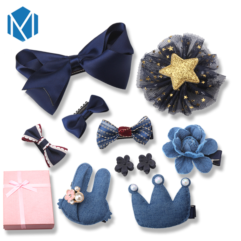 M MISM 2017 9Pcs/Set Girl Bowknot Rabbit Flower Hairpin Set Crown Star Cartoon Hair Clip Fashion Hair Accessories Gift Box Set m mism 1pc new fashion hair accessories for women the bows hair clip bowknot hairpin for hair girls decorations jewelry