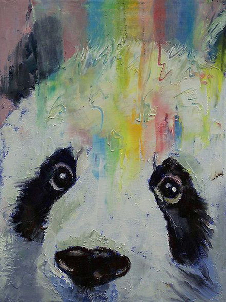 High Quality Animal Paintings Cute Animal China Panda Oil Painting On Canvas For Living Room Decoration Colorful Panda Picture