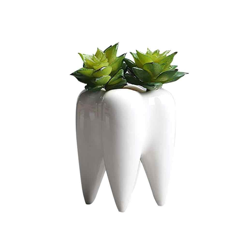 เซรามิค Succulent พืชแจกันดอกไม้ฟันรูปร่างกระถางดอกไม้นวัตกรรมตกแต่งบ้านเดสก์ท็อป Succulent หม้อ