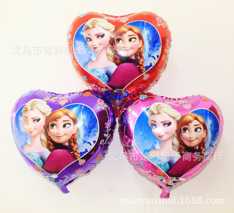 10pcs/lot anime Elsa Anna party supplies heart-shaped  foil balloon Kids birthda
