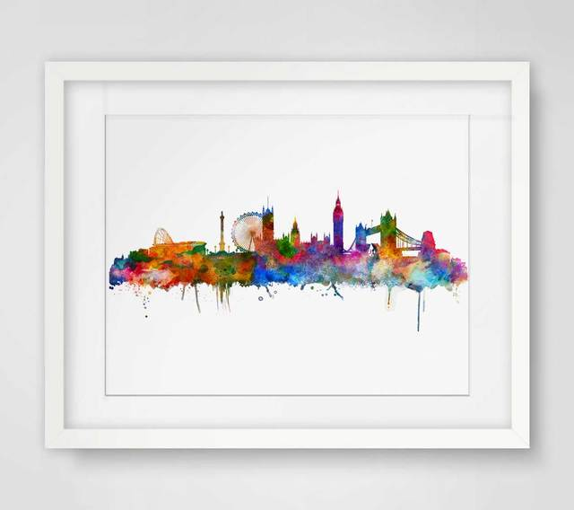 london watercolor skyline city poster map wall art skyline poster