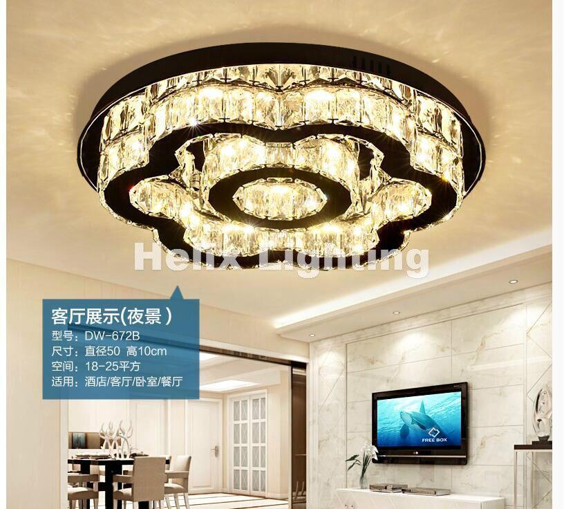 Free Shipping Art decration D50cm 90 265V Modern Hot Sale Floral Style Design LED Crystal Ceiling Lamp Luster LED Crystal Lights