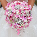 Pink Hydrangea Rhinestone chain tassel brooch bouquet  custom wedding bridal bouquets crystal  Bride 's Bouquet decor