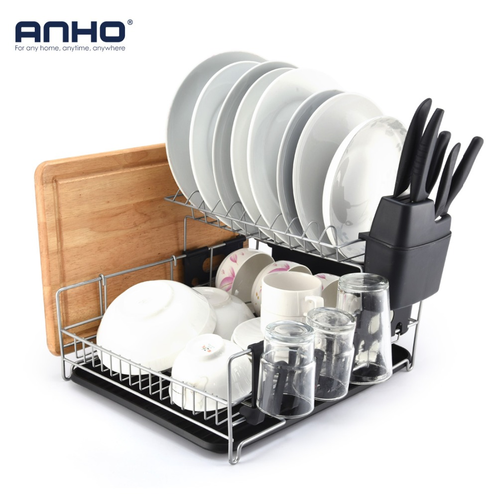 ANHO Kitchen Dish Rack 2 Tier Black Dish Drainer Drying Rack Counter Top Organizer For Bowls Plates knives Large Capacity Holder цена