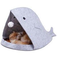 كلب صغير القط السرير الحيوانات القرش شكل الكلب سرير دافئ لينة طوي الكلب كلب بيت دافئ لينة قابلة شعرت ماتس بطانية