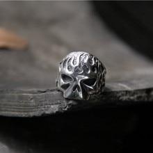 Newest Design Fire Flaming Skull Ring 925 Sterling Silver Cool Fashion Men Biker Skull Head Ring vintage skeleton skull king 925 sterling silver men ring