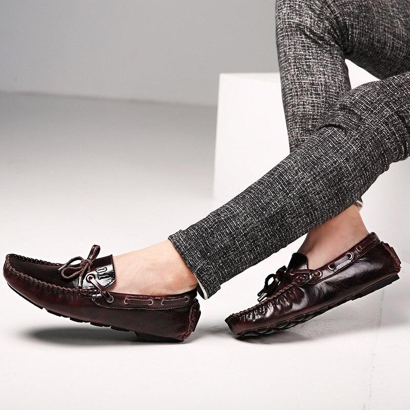 Azul Marrom Genuíno Casuais Sapatos Homens Mocassins Calçados lago Masculinos Baixos Dos De vermelho Negócios Vinho Couro wqRWH1OP