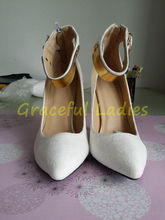 Real Image Plus Size Women Sandals White 2015 Buckle Strap High Thin Heels Wedding Shoes For