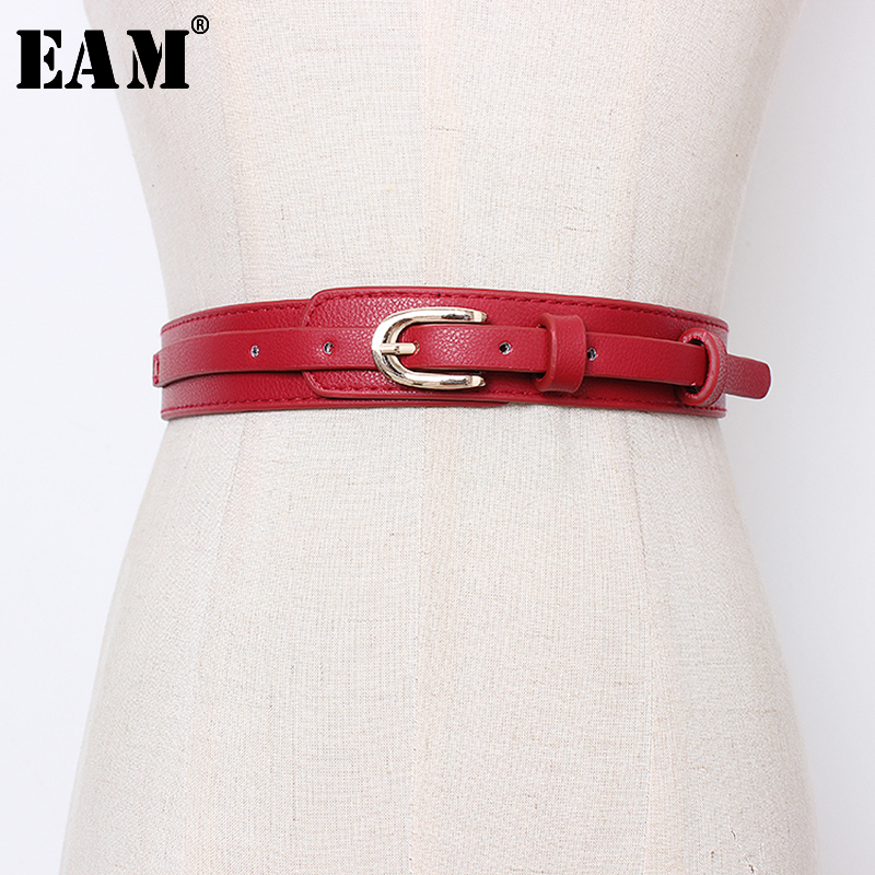 [EAM] 2020 New Spring Autumn Pu Leather Black Buckle Split Joint Personality Long Belt Women Fashion Tide All-match JR936