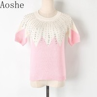 Sweet Powder White stitching color nail bead rhinestone short Sleeve sweater