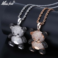 MISSFOX Hip Hop Cartoon Bear Necklace Pendant Black And Pure AAA Cubic Zirconia Rose Gold Silver Giant Panda Iced Out Pendant