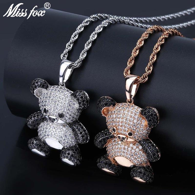 MISSFOX Hip Hop dessin animé ours collier pendentif noir et pur AAA cubique zircone or Rose argent géant Panda glacé pendentif