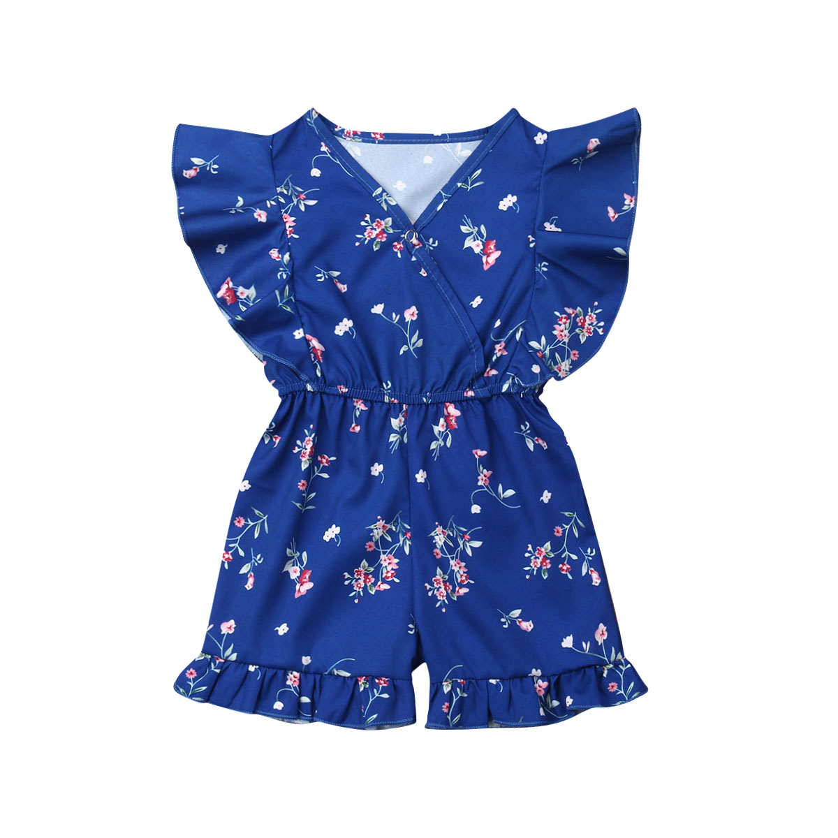 Pudcoco Newborn Baby Girls Ruffle Floral Short Sleeve   Romper   Jumpsuit Sunsuit Outfit