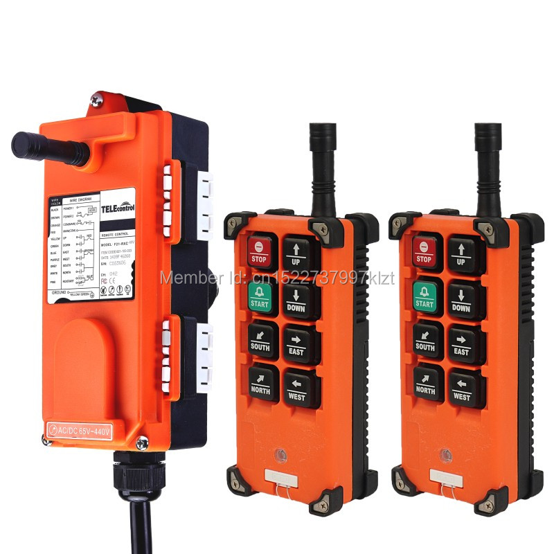 F21-E1B(Include 2 Transmitters 1 Receiver)6 buttons 1 Speed Hoist crane remote control wireless radio Uting remote controller f21 4s include 2 transmitter and 1 receiver 4 channels1 speed hoist industrial wireless crane radio remote control uting remote