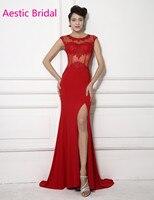 Importados Vestido de Fiesta Rojo Ilusión Sirena Apliques de Encaje de Baile Vestido Con Aberturas Laterales Vestido Formatura