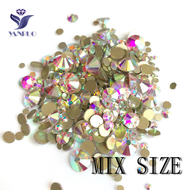 YanRuo Mix Crystal AB Clear Shinning Designs No hotfix Flatback Nail Rhinestones 3D Nail Art Decorations Փայլեր Ակնեղեն