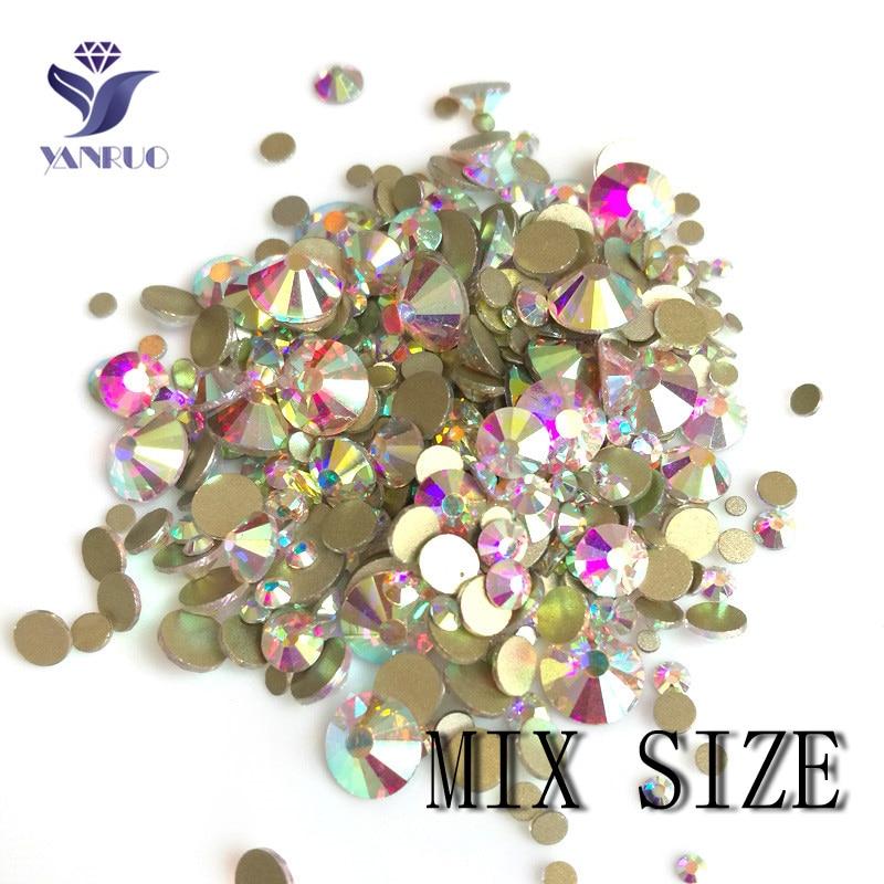 YanRuo Mix Crystal AB Shinning Designs Non hotfix Flatback N