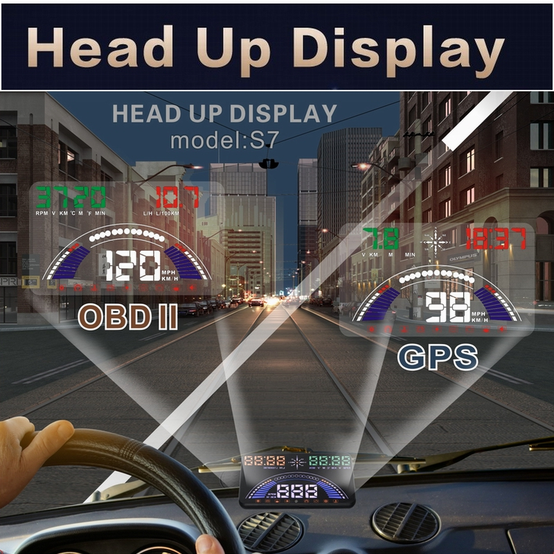 New Design S7 HUD Head Up Display For Windshied Projector Car styling Accessories Automobile Digital Speedometer for Car цена и фото