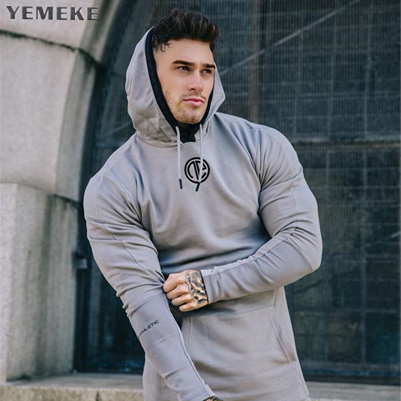YEMEKE Hoodies Men 2018 Brand Male Long Sleeve Solid Color Hooded Sweatshirt Mens Hoodie Tracksuit Sweat Coat Casual Sportswear