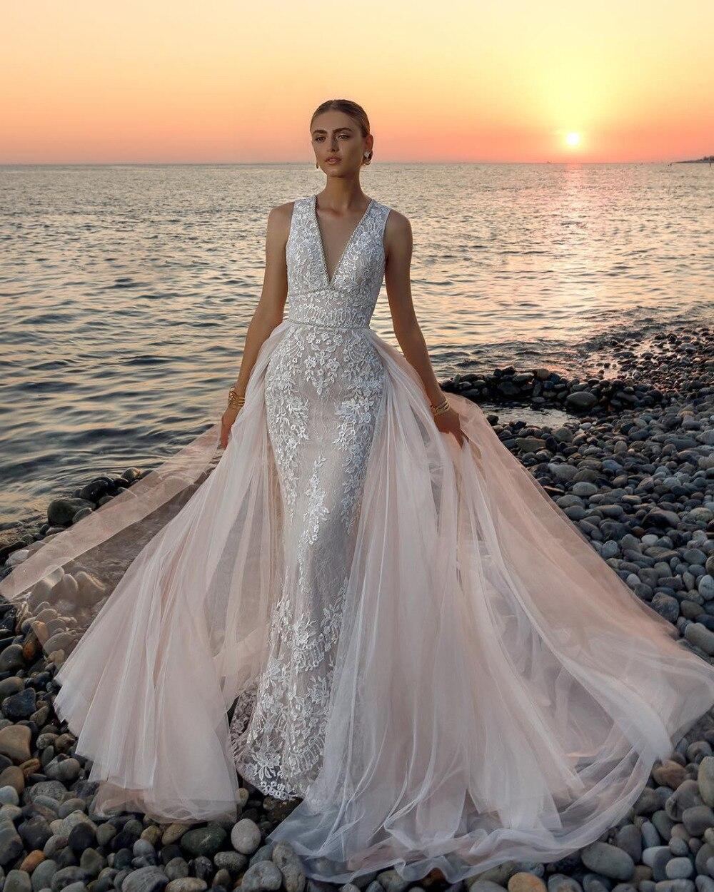 Eslieb High-end Custom made Lace Wedding dress 2019 Deep V-neck Wedding dresses  Bridal Dresses China