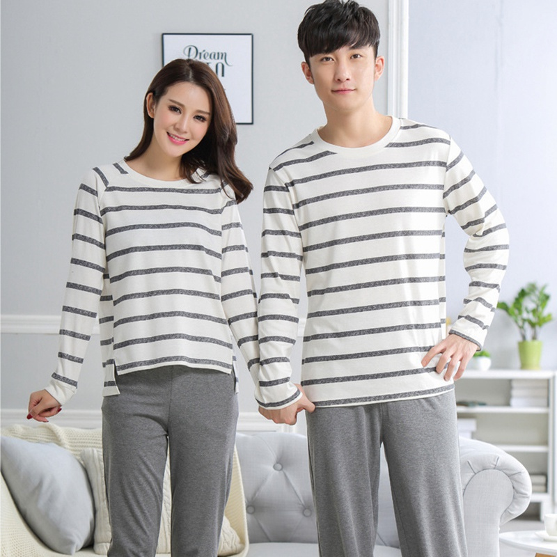 Pajamas Set For Men Women Cotton Couple Long Sleeve Casual O-neck Sleepwear Pyjamas