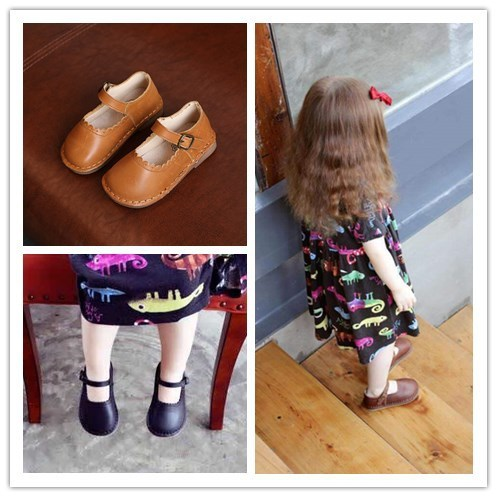 Comfy kids Genuine Leather 2017 New Arrivals Child Girls Shoes Fashion Flat With Cow Muscle Sole Baby Girls Leather Shoes