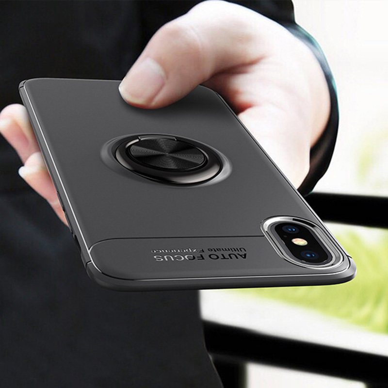 Magnetic Car Holder <font><b>Case</b></font> For <font><b>iPhone</b></font> XS <font><b>Original</b></font> Apises <font><b>Silicone</b></font> Metal Ring Magnet <font><b>Case</b></font> For <font><b>iPhone</b></font> 9/<font><b>X</b></font>/XS/XS Plus Coque Capas image