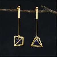 Lotus Fun Real 925 Sterling Silver Natural Lapis Original Handmade Fine Jewelry Creative Lamps Drop Earrings for Women Brincos