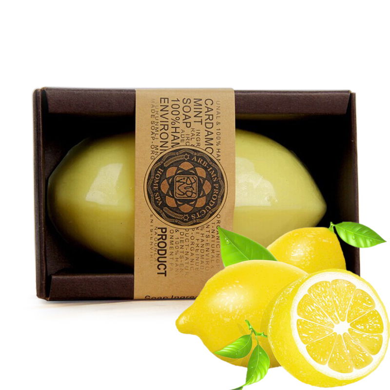 100% HandMade Natural Essential Oil Lemon Handmade Soap Face Care Whitening Oil Control Facial Cleaning Soaps Skin Care
