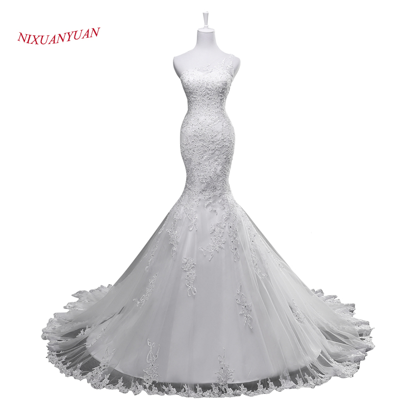 Vestido De Noiva 2017 New Elegant Lace Applique Tulle: 2017 New Elegant Appliques Ivory White Tulle Mermaid