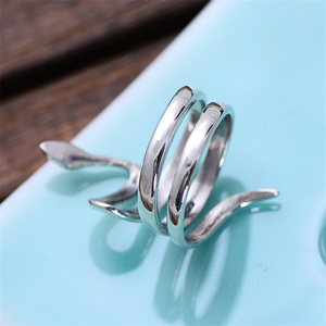 Image 4 - V.YA 925 Silver Animal Ring Adjustable S925 Sterling Silver Rings for Men Women Snake Jewelry Wedding Birthday Gift