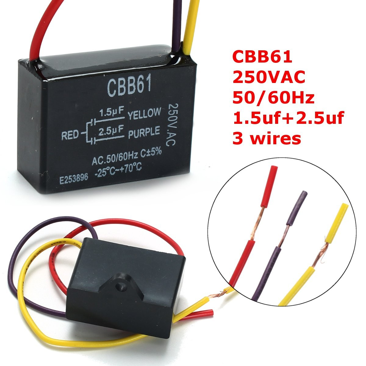 1pc Black Fan Capacitor CBB61 1.5uF+2.5uF 3 Wires AC 250V 50/60Hz ...