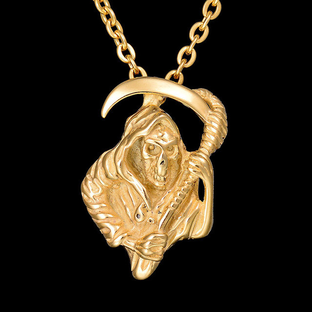 New never fade 316l stainless steel grim reaper chain necklace gold new never fade 316l stainless steel grim reaper chain necklace gold color death god charm pendant mozeypictures Image collections
