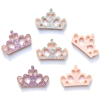 20Pcs Mixed Glitter Felt Pads Applique Crown Fabric Patches for Craft/Clothes/Wedding DIY Scrapbooking Accessories K28