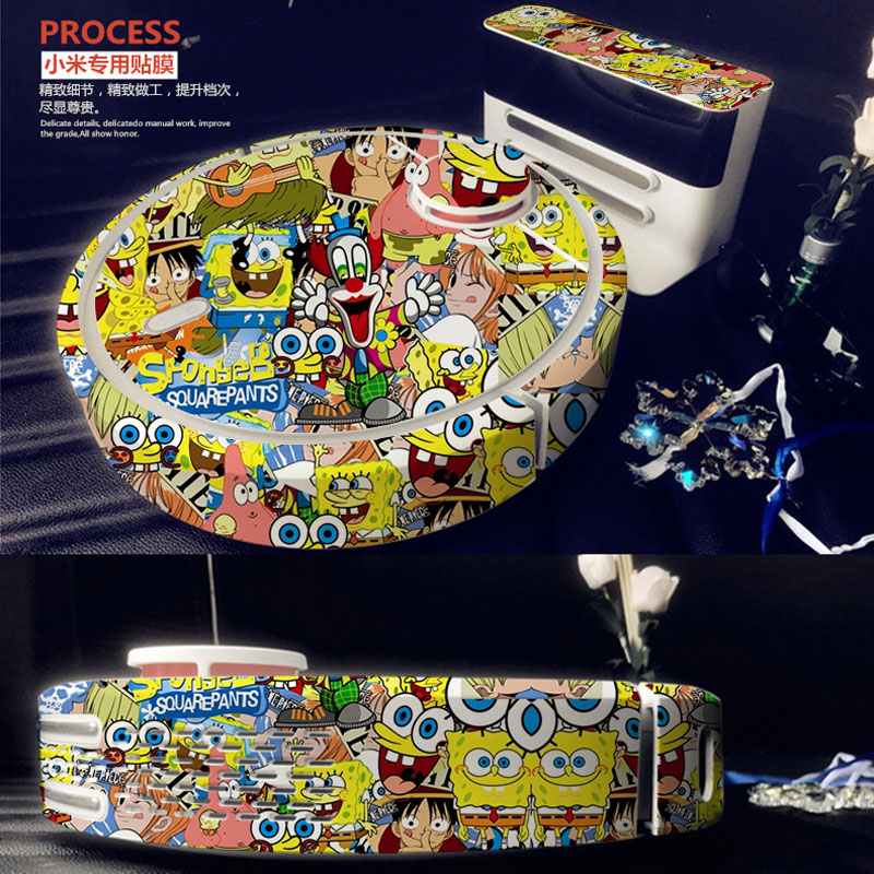 Spongebob Skin Decal Vinyl Wrap for Xiaomi Robot Cleaner MI Robotic Sticker Slap Protective Film 17829 2017 new red sky skin decal vinyl wrap for xiaomi robot cleaner mi robotic sticker slap protective film 17830 free shipping