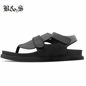 Black&Street 2019 summer cowhide Leather Clip toe Beach Sandals handmade designer brand platform Soft bottom sandals