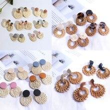 Fashion Fruit Embroidery Pineapple Drop Earrings Women Boho Wooden Straw Weave Rattan Vine Braid Pendant Jewelry