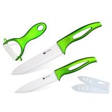 XYJ Marke Keramik Messer 5 Zoll Schneiden 6 Zoll Chef + Schäler Küchenmesser ABS + TPR Grünen Griff PP Weiß Mantel Kochen Werkzeuge