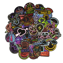 50pcs Not repeat Neon Light Sticker Anime Cute Decals Stickers Gifts for Children to Laptop Bicycle Guitar Fridge Suitcase Car