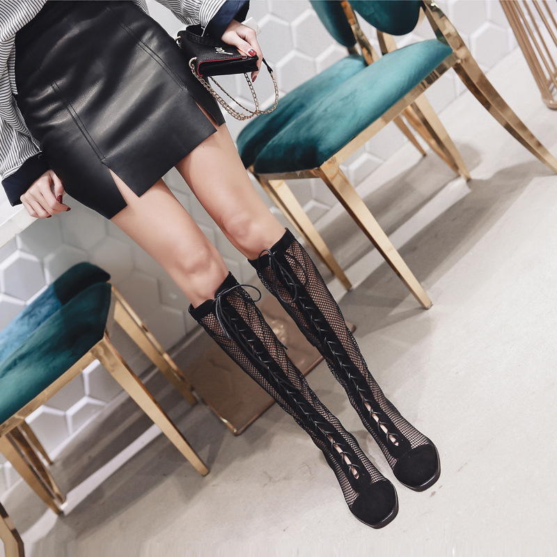 NEW women mid calf boots sexy mesh spring and autumn zip round toe fashion shoes Handmade boots solid black square heel 2018 new superstar flock runway peep toe slip on fashion brand shoes wedges autumn spring lazy zipper mid calf boots for women